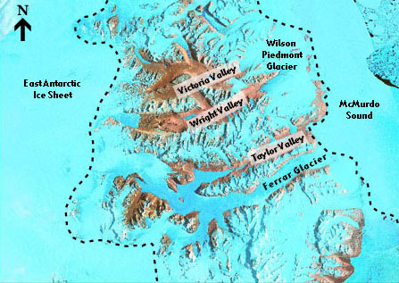 Map of the Dry Valleys